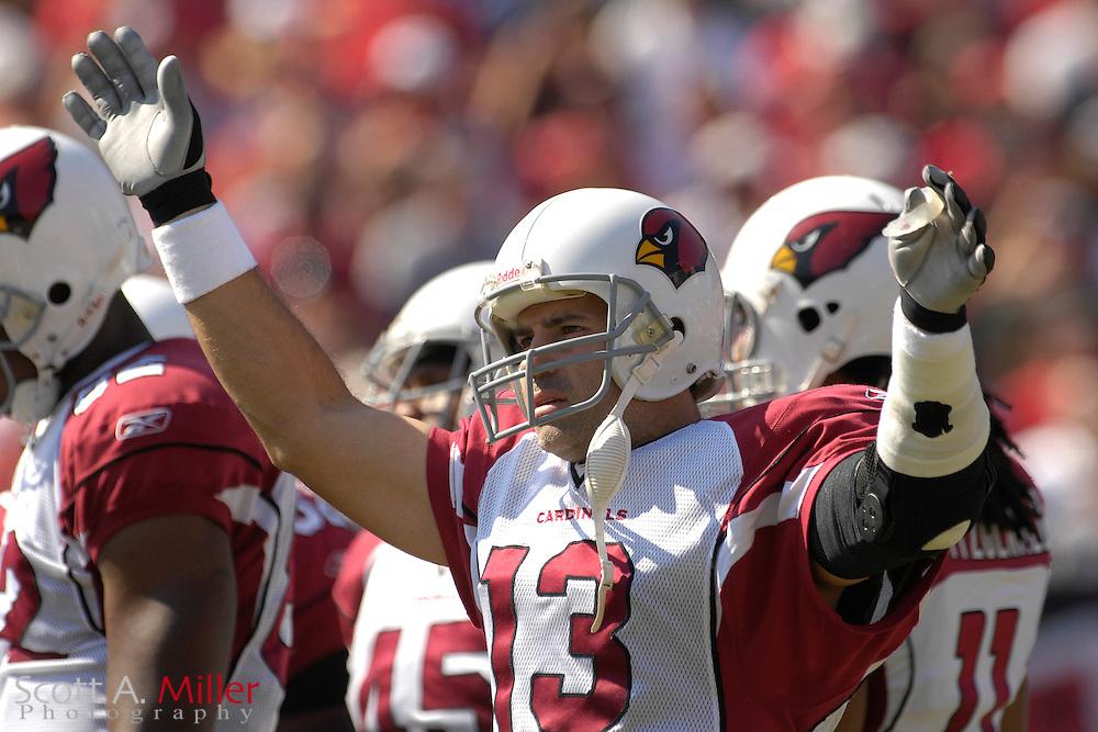 Nov. 4, 2007; Tampa, FL, USA;  Arizona Cardinals  quarterback (13) Kurt Warner during the Cardinals 17-10 loss to the Tampa Bay Buccaneers at Raymond James Stadium. ...©2007 Scott A. Miller