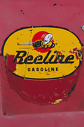 "detail of an old gas station pump called ""Beeline"""