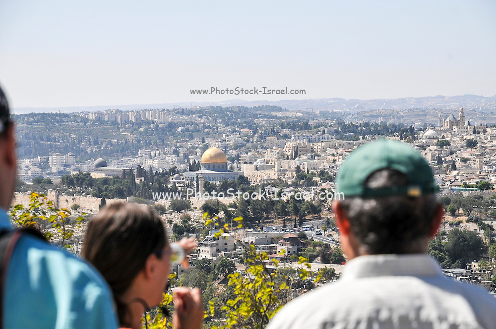 View of the Dome of the Rock on Temple Mount, as seen from the Zeevi observation point on Mount Olives, Jerusalem, Israel