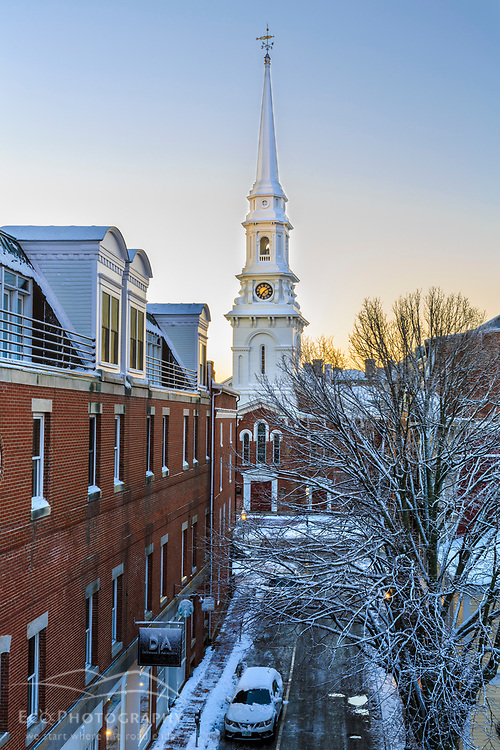 The North Church and High Street in Portsmouth, New Hampshire. Winter.