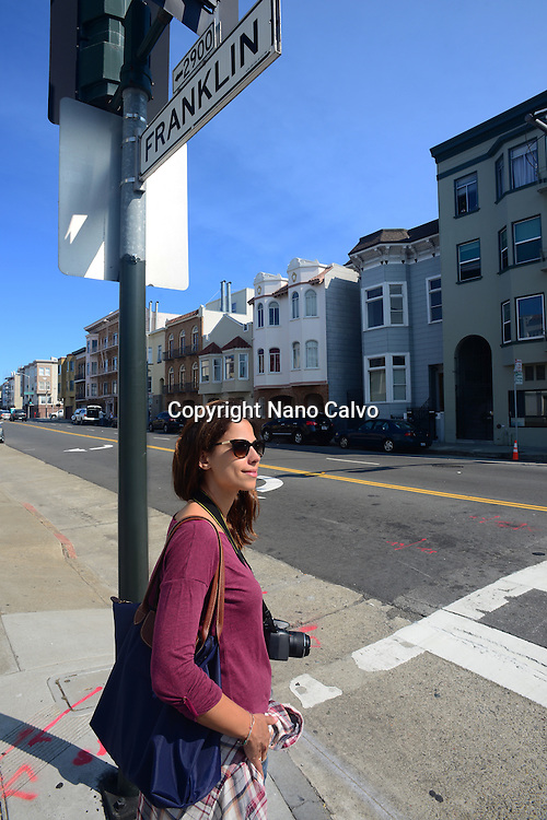 Attractive young woman in the streets of San Francisco