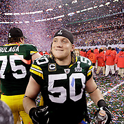 Green Bay Packers' A.J. Hawk celebrates the Super Bowl win. .The Green Bay Packers played the Pittsburgh Steelers in Super Bowl XLV,  Sunday February 6, 2011 in Cowboys Stadium. Steve Apps-State Journal.