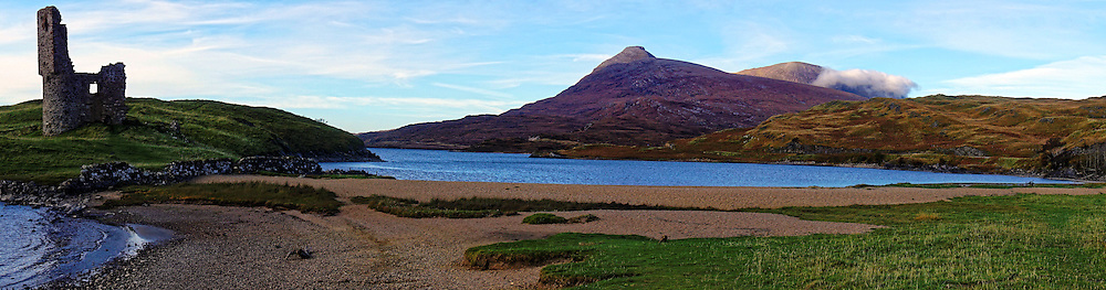 Ardvreck Castle is a ruined castle dating from the 16th century which stands on a rocky promontory jutting out into Loch Assynt in Sutherland, in the Highlands of Scotland.