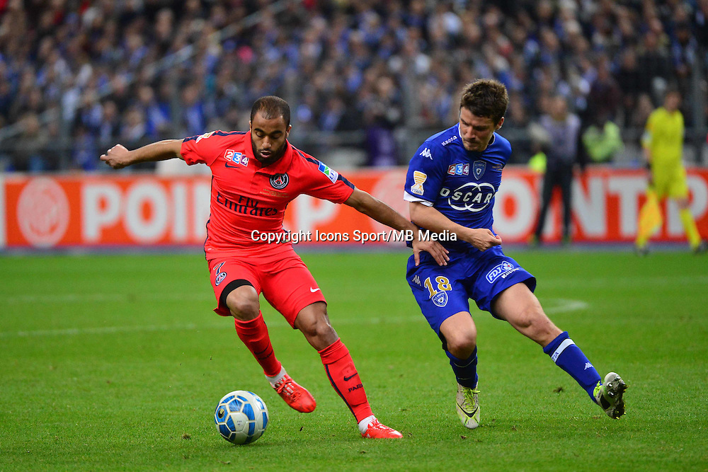 LUCAS MOURA  / Yannick CAHUZAC    - 11.04.2015 -  Bastia / PSG - Finale de la Coupe de la Ligue 2015<br />