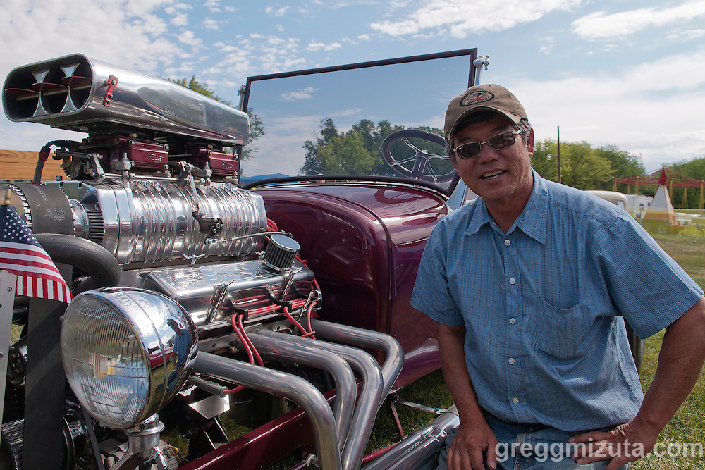 David Mizuta next to his hot rod at the Oregon Trail Days Car Show on July 4, 2013 at Wadleigh Park, Vale, Oregon.