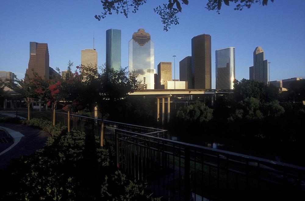 Houston, Texas skyline with Buffalo Bayou Park in the foreground.