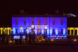 © Licensed to London News Pictures. 19/04/2017. Greenwich, UK. Greenwich's iconic heritage buildings were bathed in coloured lighhts last night (18th April) on World Heritage Day to mark the 20th anniversary of Maritime Greewnich being designated as a UNESCO World Heritage SIte. Photo credit : Rob Powell/LNP