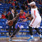 Delaware 87ers Forward Joel Wright (14) drives towards the baseline in the first half of a NBA D-league regular season basketball game between the Delaware 87ers and the Grand Rapids Drive (Detroit Pistons) Saturday, Apr. 04, 2015 at The Bob Carpenter Sports Convocation Center in Newark, DEL.