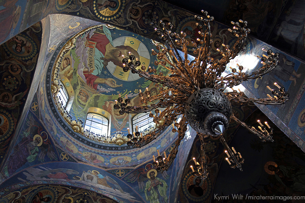 Europe, Russia, St. Petersburg. Church of the Spilled Blood Mosaics and Chandelier.