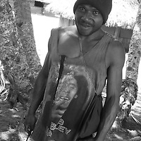 'Superhero' T-shirt fashion, in Bain villlage, East New Britain Island, Papua New Guinea,  Thursday 18th September 2008.