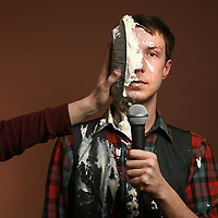 Columbus comedian Zachariah Baird takes a pie in the face.(Jodi Miller/Alive)