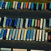 Aerial view of truck containers