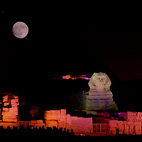 Sphynx and Gizeh Pyramids archaeological sites, Sound and light show, Cairo, Egypt