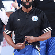 Delaware 87ers Guard BARON DAVIS (34) warm ups prior to a NBA D-league regular season basketball game between the Delaware 87ers and the Iowa Energy Friday, Mar. 04, 2016. at The Bob Carpenter Sports Convocation Center in Newark, DEL.