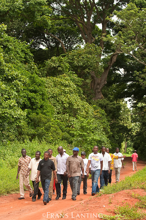 Local tourists visiting Boabeng-Fiema Monkey Sactuary, Ghana