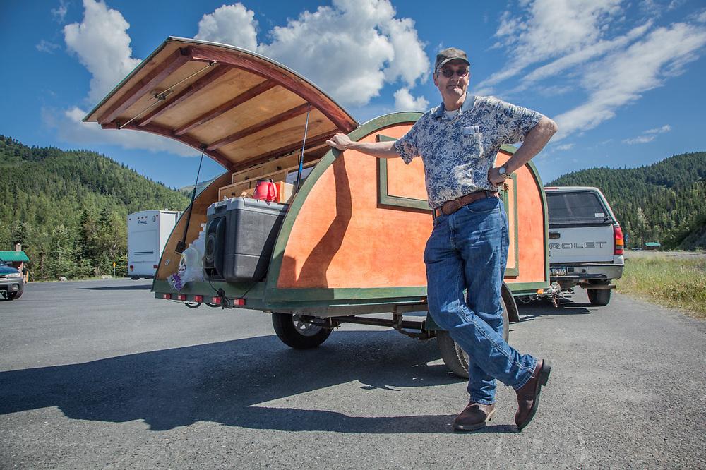 "Wayne Floyd with his homemade ""Mosquito"" tear-drop trailer on the Seward Highway near the Hope cut off. wpfloyd@alaska.net"