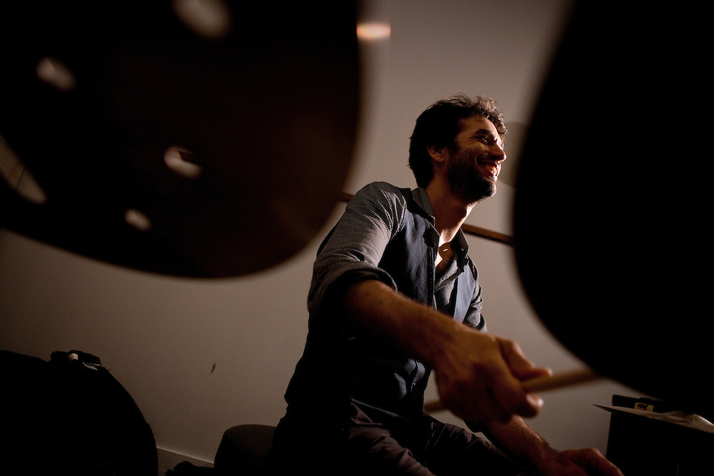 Jazz, music, Daniel Freedman, Avishai Cohen, Anat Cohen, Lionel Loueke, Jason Lindner, Omer Avital, Gilmar Gomes, Bamako by Bus, studio sessionJazz musicians Daniel Freedman, drums, Avishai Cohen, trumpet, Anat Cohen, woodwind, Lionel Loueke, guitar and vocal effects, Jason Lindner, piano and keys, Omer Avital, bass and Gilmar Gomes on percussion performing at WBGO studio sessions in Newark, NJ on June 22, 2012.