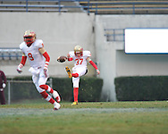 Lafayette High's Mack Bishop (37) punts vs. Forrest County AHS in the MHSAA Class 4A championship game at Mississippi Veterans Memorial Stadium in Jackson, Miss. on Saturday, December 7, 2013. Forrest County AHS won 21-6.