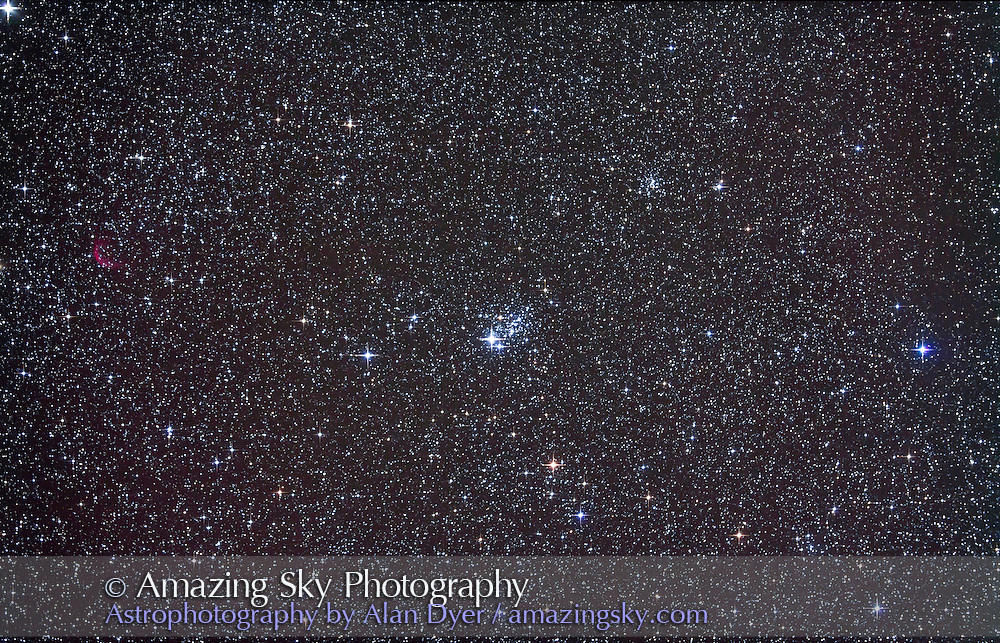 NGC 457 open cluster in Cassiopeia. NGC 436 is at upper right and nebula Sharpless 2-188 at left. Taken Nov 4, 2010 with 105mm A&M apo refractor at f/5 with Borg .85x flattener/reducer and Canon 5DMkII at ISO 800 for stack of 4 x 10 minute exposures, Median combined. Used Celestron CGEM mount and Sky-Watcher SynGuider on William Optics 66mm guidescope. All seemed to work well.