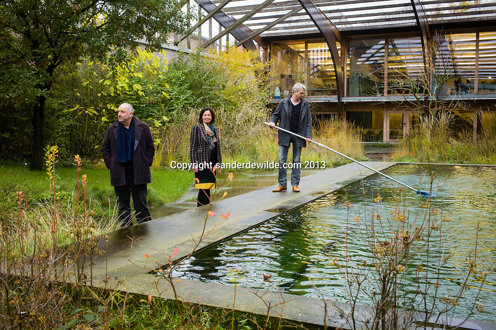 Robbrecht and Daem architects portrayed at their office in Gent. From left to right Paul Robbrecht, Hilde Daem, Tom De Moor.