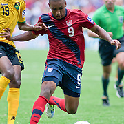 United States Attacker Juan Agudelo #9 try to get into scoring position in the second half. The United State would go on to to defeat Jamaica 2-0 in the concacaf gold cup quarterfinals Sunday, June 19, 2011 at  RFK Stadium in Washington DC.