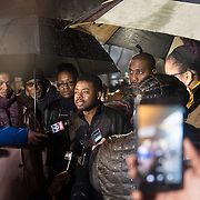 Eddie Sutton, brother of 24-year-old Jamar Clark who was killed by Minneapolis Police on Sunday spoke to the media outside the Minneapolis Police Department 4th precinct headquarters, where a new round of protests erupted after Black Lives Matter activists who had been camped out in the front entrance to the precinct were cleared out on Wednesday, November 18, 2015 in Minneapolis, Minnesota. <br /> <br /> &ldquo;This is what this is all about, you know, standing for what you believe in,&rdquo; Sutton said. &ldquo;These are people that's from the community. So, I mean, I relate to 'em. They relate to me, in ways that some other people can't understand. So, I think it's good. I think it's really good.&quot; <br /> <br /> <br /> Photo by Angela Jimenez for Minnesota Public Radio www.angelajimenezphotography.com