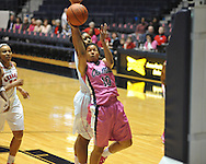 "Ole Miss' Diara Moore (10) vs. Georgia's Shacobia Barbee (20) in women's basketball at the C.M. ""Tad"" Smith Coliseum in Oxford, Miss. on Sunday, February 24, 2013. Georgia won 73-54."