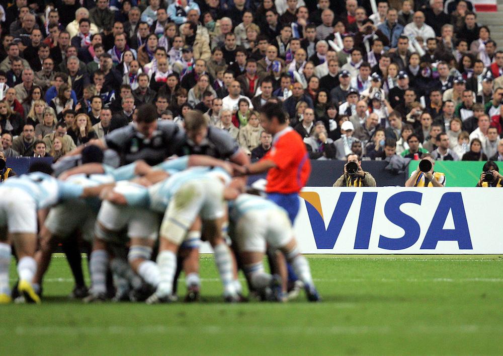 Visa advertising board. Argentina v Scotland (19 - 13) Stade de France, St Dennis, 07/10/2007, Quarter Final Match 44. Rugby World Cup 2007..