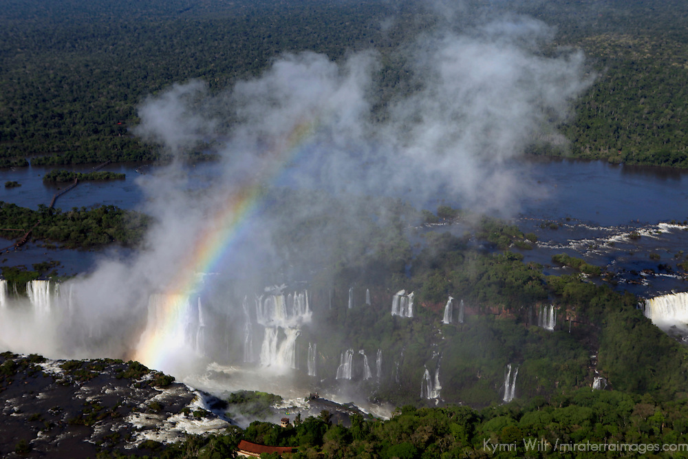South America, Brazil, Iguacu Falls. Rainbow in the mist at Iguacu Falls.