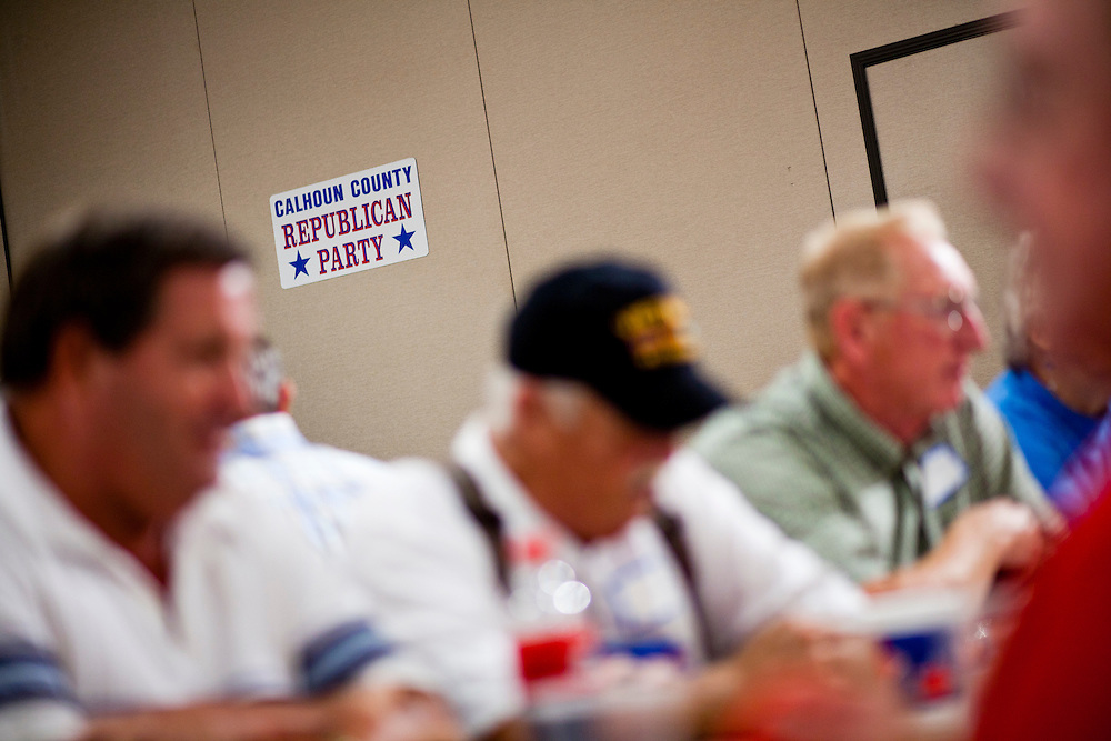 Attendees at a Calhoun County Republican Party dinner eat before a campaign appearance by Republican presidential candidate Rep. Michele Bachmann (R-MN) on Monday, August 8, 2011 in Rockwell City, IA.