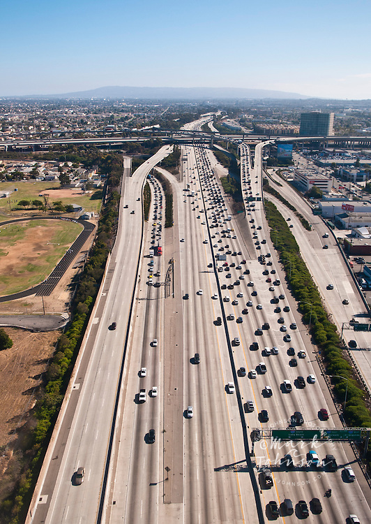 Aerial photograph of the 405/San Diego freeway, Los Angeles, S. California, USA