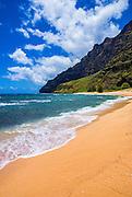 Miloli'i Beach on the remote Na Pali Coast, Island of Kauai, Hawaii USA