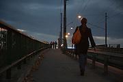 The tram bridge over the Sava River.<br /> <br /> Savamala neighborhood of Belgrade, Serbia.