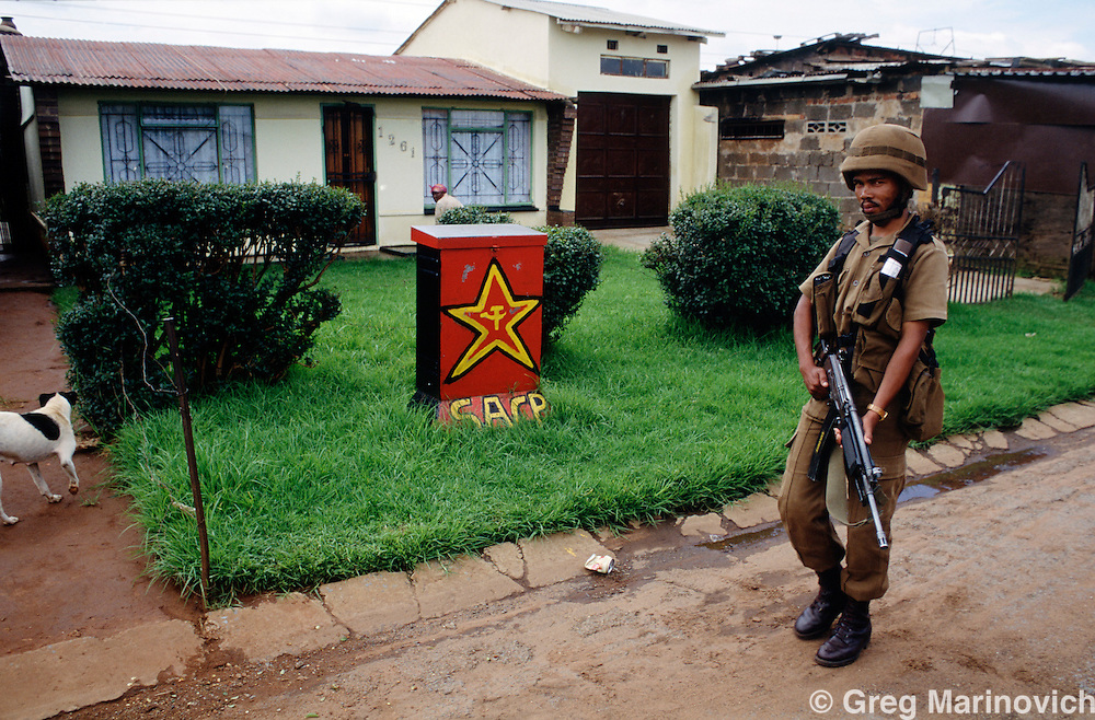 Thokoza, South Africa, 1994: SADF soldiers patrol a contested area in the East Rand township, as clashes continued after the first democratic elections.