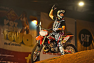 X-Knights, first event of the 2009 freestyle FMX International Cup at Figali Convention Center.Pictured: French freestyle motocross rider, Jeremy Rouanet.