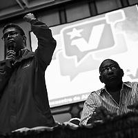 Elías Jaua, vicepresidente de Venezuela y Aristóbulo Istúriz, jefe de Comando del Partido Socialista Unido de Venezuela (PSUV) durante la reunión de Alcaldes Bolivarianos realizada en el Hotel Alba Caracas. 19 Agosto, 2010. (Ivan Gonzalez).