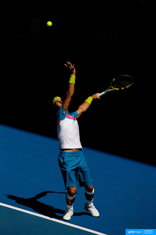 Rafael Nadal of Spain in action against Fernando Gonzalez of Chile at the Australian Tennis Open on January 26, 2009 in Melbourne, Australia. Photo Tim Clayton    .Photo Tim Clayton Photo Tim Clayton