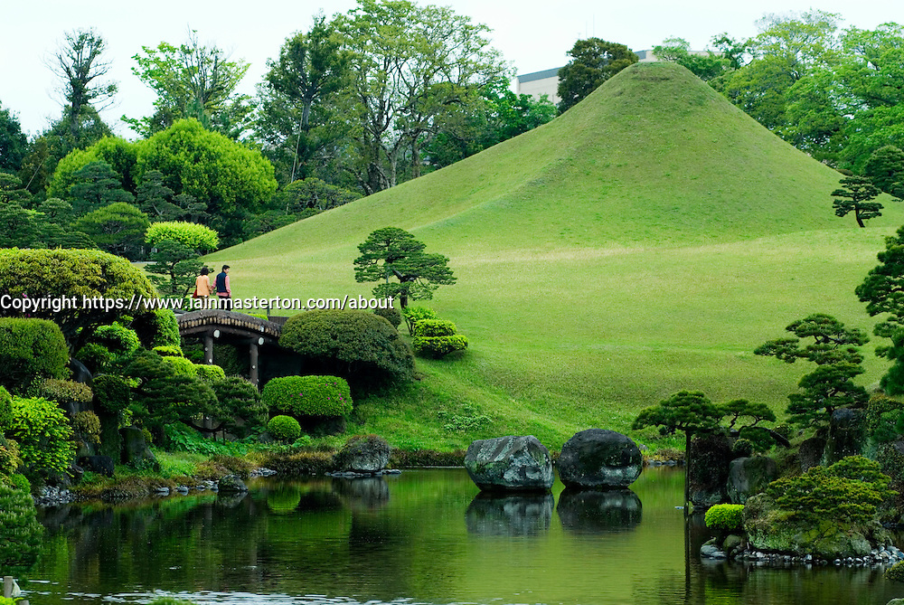 Traditional Japanese Garden At Suizenji With Miniature Mount Fuji To Rear Iain Masterton