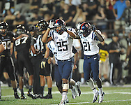 Mississippi defensive back Cody Prewitt (25) celebrates his interception in the final minute vs. Vanderbilt in Nashville, Tenn. on Thursday, August 29, 2013. Ole Miss won 39-35.