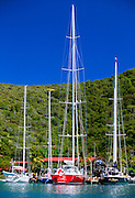 356202-1016B ~ Copyright:  George H. H. Huey ~ Sailboats docked at the Bitter End Yacht Club in Gorda Sound.  North End of the island of Virgin Gorda.  British Virgin Islands. Caribbean.