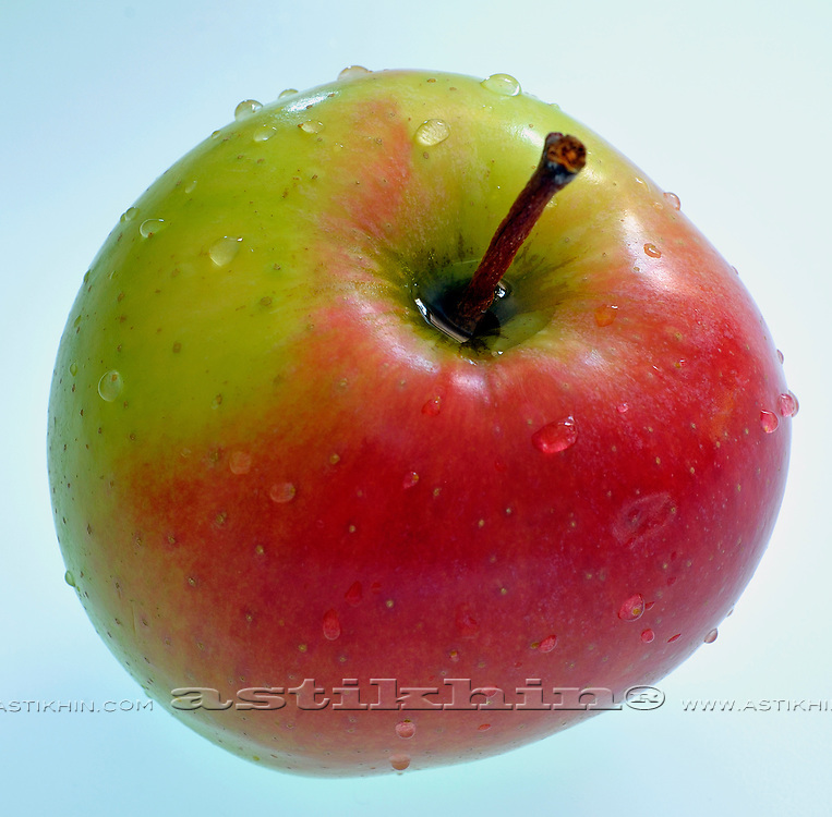 Apple with drops of water