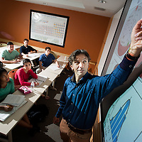 Professor of Physics Jané Kondev leads a class at Brandeis University in Waltham, MA.