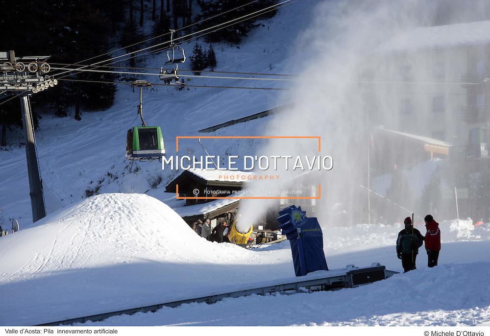Valle d?Aosta: Pila  innevamento artificiale. fotografia di  Michele D?Ottavio