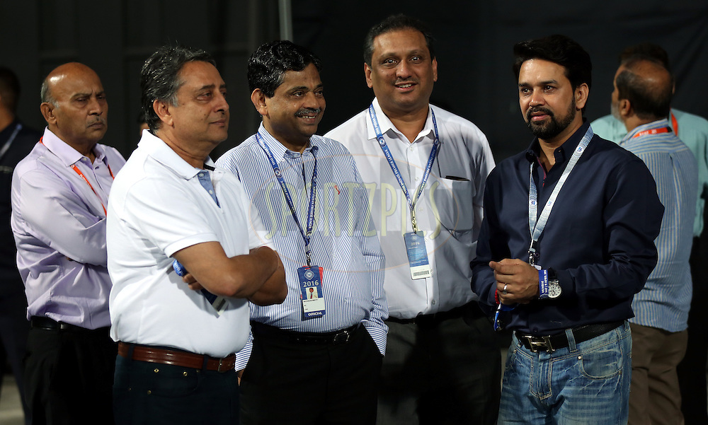 Ratnakar Shetty is the BCCI's head of operations , BCCI secretary Anurag Thakur during match 1 of the Vivo Indian Premier League ( IPL ) 2016 between the Mumbai Indians and the Rising Pune Supergiants held at the Wankhede Stadium in Mumbai on the 9th April 2016<br /> <br /> Photo by Sandeep Shetty/ IPL/ SPORTZPICS