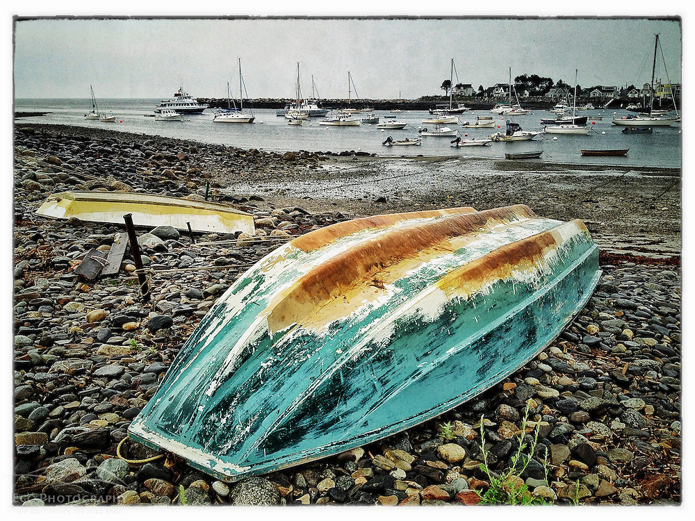 Skiffs on the shore in Rye Harbor, Rye, New Hampshire. iPhone photo - suitable for print reproduction up to *' x 12""