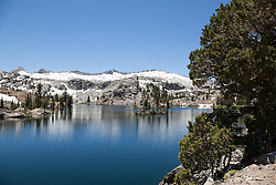 """Heather Lake 3"" - Photograph of a tree and a small island at Heather Lake along the Pacific Crest Trail in the Tahoe Desolation Wilderness."