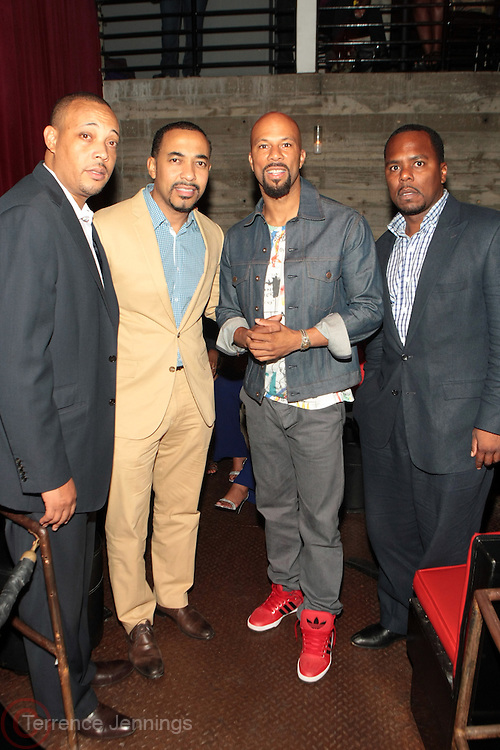 12 September 2013- Brooklyn, NY: (L-R) Dr. George Jenkins, Dr. Sampson Davis, Recording Artist/Actor Common and Dr. Remeck Hunt attend the Farewell to Summer 2013 Benefit Concert for the Ajile Turner Foundation held at the Galapagos Art Space on September 12, 2013 in Brooklyn, NY. ©Terrence Jennings