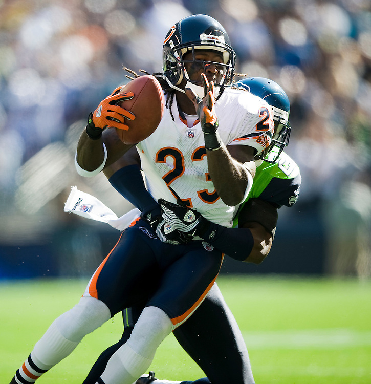 SEATTLE SEAHAWKS VS CHICAGO BEARS - Chicago's Devin Hester is brought down by Seattle's Jordan Babineaux.
