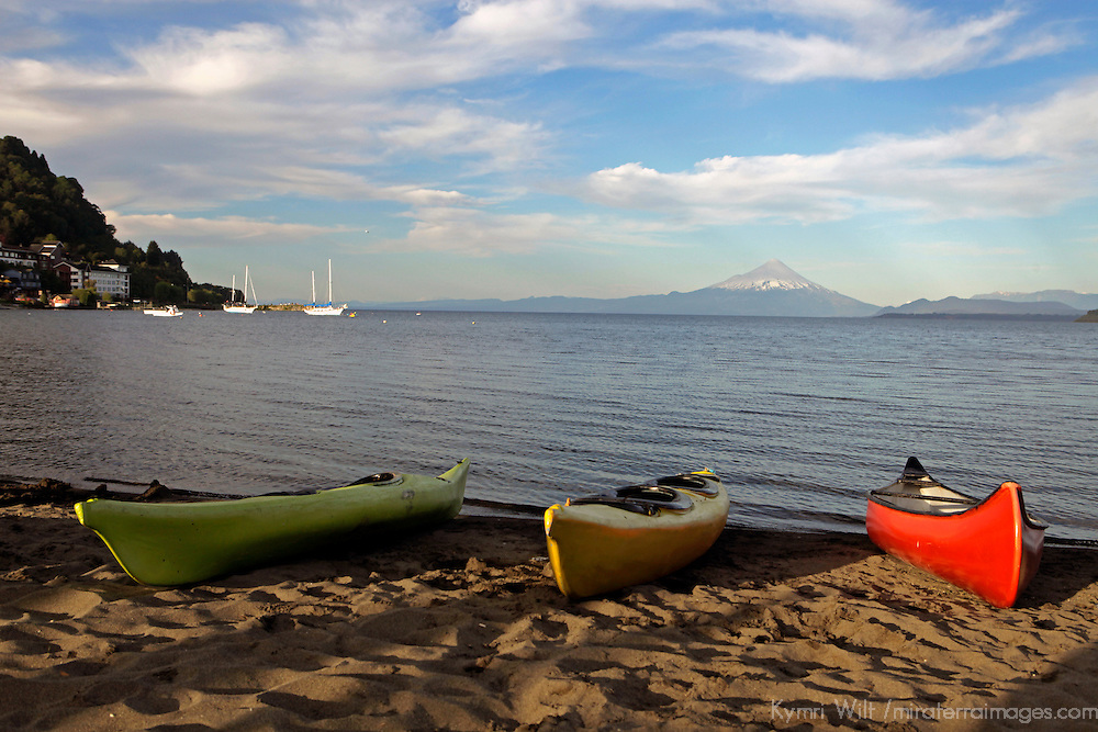 South America, Chile, Puerto Varas. Boats on the Lakeshore in Puerto Varas.