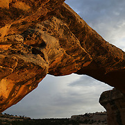 Owachomo Bridge is the smallest, thinnest, and likely oldest natural bridge in Natural Bridges National Monument, Utah. Its span measures 180 feet (55 meters) and its only 9 feet (3 meters) thick at its thinnest point.